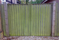 wooden fence before spraying